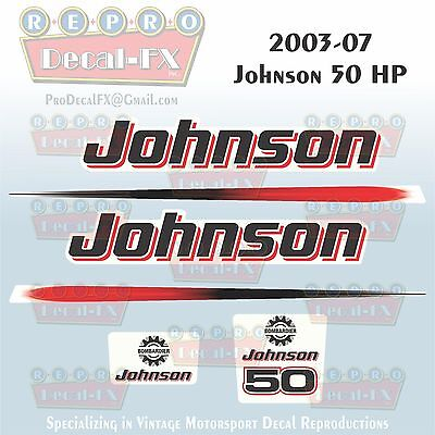 2003-07 Johnson 50 HP Outboard Reproduction 6 Pc Marine Vinyl Decals 2 Cylinder