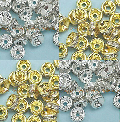 100pcs Crystal Rhinestone Gold / Silver Plated Rondelle Spacer Beads 4 Sizes