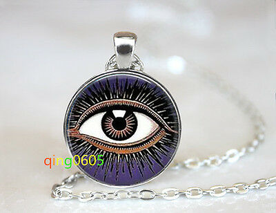 Mystic Eye of Horus glass dome Tibet silver Chain Pendant Necklace wholesale