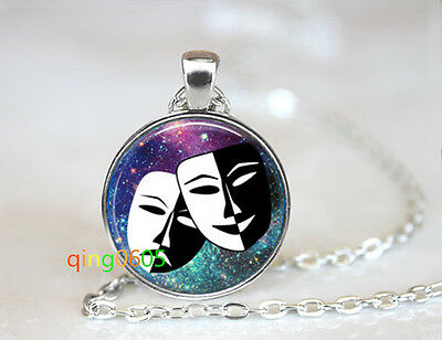 Mask Smile now cry later mask Tibet silver Chain Pendant Necklace wholesale