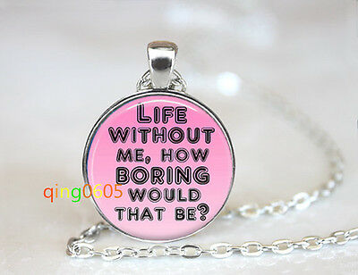 Life Without Me Funny glass dome Tibet silver Chain Pendant Necklace wholesale