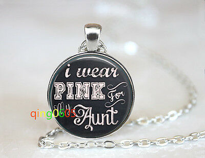 I Wear Pink For My Aunt glass dome Tibet silver Chain Pendant Necklace wholesale