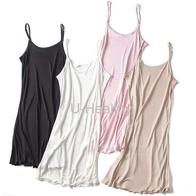 U-Healthy Silk Full Slip Long Strappy Cami Lingerie Underwear Sleepwear