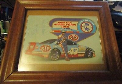 Richard Petty Autographed 1992 Fan Appreciation Tour Framed Glass Over Top