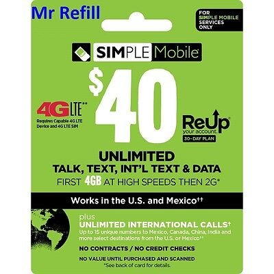 SIMPLE Mobile $40/Mont Unlimited Plan Refill, fast & right