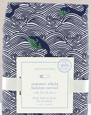 Pottery Barn Kids - Summer Whale Crib Fitted Sheet - NWT Navy Ocean Nautical