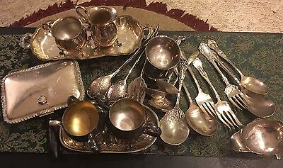 Really Nice Silverplate Lot Flatware/Serveware/More For Use/Craft/Resale