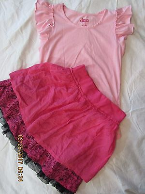 Girls 2 Pc Outfit Lot Size 10/12 D-Signed Circo Top Tee Layered Skirt Pink