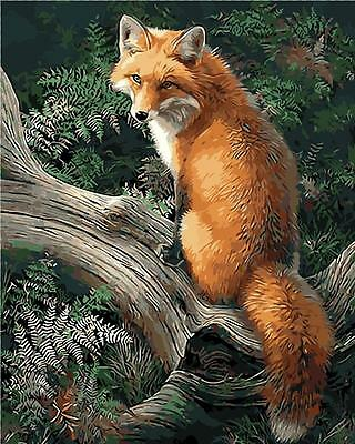 "New DIY Paint By Number 16*20"" kit Oil Painting On Canvas Fox in Forest 1658"