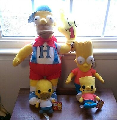 4 Stuffed Bart And Homer Simpson Characters - 100% Official - Great Collectibles