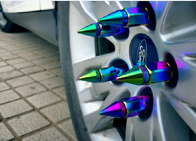 M12X1.5 20 60mm Neo Chrome Aluminum Spike Tuner Extended Lug Nuts for Rims