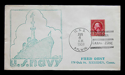 US Stamp Sc# 554 USS Aylwin Naval Cover June 6, 1936 Panama Canal Zone