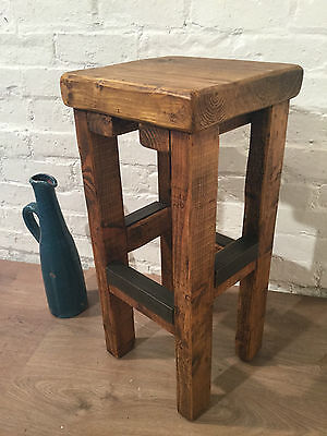 British Hand Made Reclaimed Solid Wood Pine Industrial Kitchen Island Bar Stool