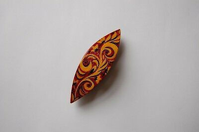 Wooden Tatting Shuttle With Pick Hand Made in Ebony Decorated With MOP Inlays