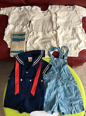 Lot Of VTG Baby And Toddler Clothes 3 Utica Bodyguard Knit Play Sets, Overalls..