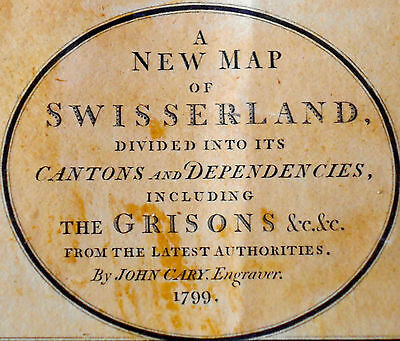 1799 Large Antique Map Chart John Cary Switzerland Austria Hand Color Folio