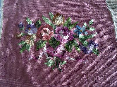 "Vintage Antique Pink /NEEDLEPOINT with Flowers 14""x 16"""