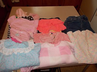 34pc USED BABY GIRL NEWBORN 0-3 3-6 MONTHS FALL/WINTER CLOTHES LOT