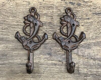 Pair of Brown-Tone Cast Iron Dolphin & Ship Anchor Vintage Nautical Wall Hooks