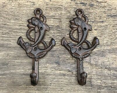 Pair of Dolphin & Ship Anchor Cast Iron Brown-Tone Vintage Nautical Wall Hooks