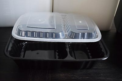 """25 oz. Black 8X6""""  Rectangle Microwavable 2 Compartment Container Lid 150/ case"""