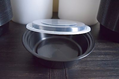 25 oz. Black 7 inch  Round Microwavable Takeout Container w/ Lid 150 ct Case