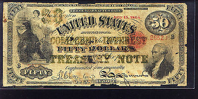 CONTEMPORARY COUNTERFEIT 1864 $50 INTEREST BEARING note Fr 192a