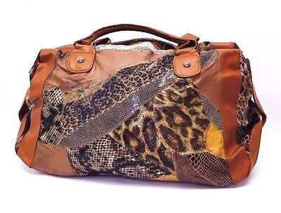 NEW Women Brown Patch-Leather Animal Printed Tote Fashion Shoulder Handbag LARGE