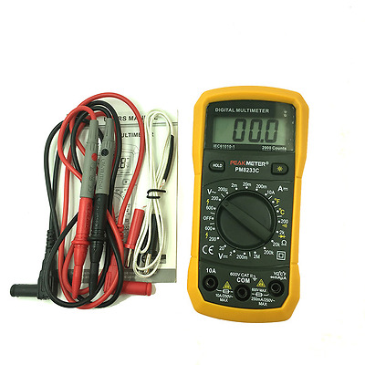 PM8233C  PEAKMETER Multimeter Digital Profi  A/V/Ohm/Temperatur Batterie incl.