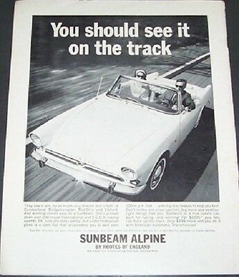 Original Magazine Ad Sunbeam Alpine 1964