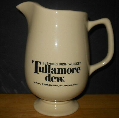 Vintage 1977 TULLAMORE DEW Irish Whiskey Pitcher - Hublein Hartford CT