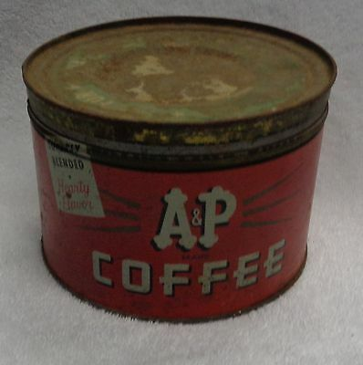 A & P Red And White   Tin Coffee Can