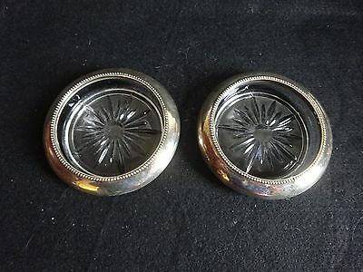 Antique '05 Frank M Whiting Sterling Silver Beaded  Large Glass Coasters