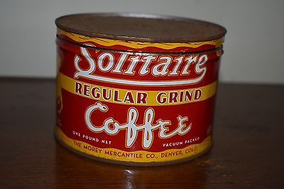 Solitaire One Pound Antique Vintage Coffee Tin Can