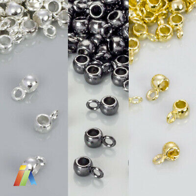 25x Silver Gold Gunmetal BAILS OD:4mm ID:2mm HANGER BEAD Carrier SPACER Holder