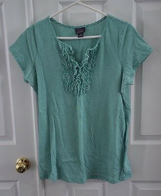 Oh Baby by Motherhood Green Striped Maternity Short Sleeve Top Shirt size Large