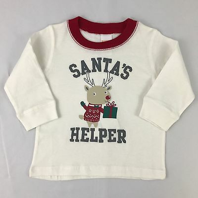 NWT Gymboree Boys Shirt, Long Sleeve, White, Santa's Helper, Size 12-18 Months