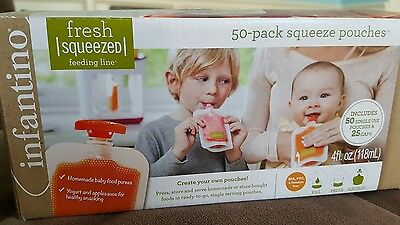 NEW INFANTINO Fresh Fashion Squeeze Pouches 49 Pouches & 25 Caps (3 characters)