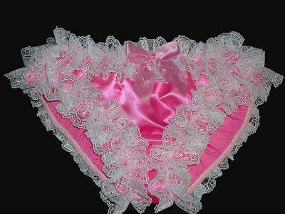 Hot Pink High Leg - Lace Nickers Handmade Sissy Ruffle Panties -  Custom Made