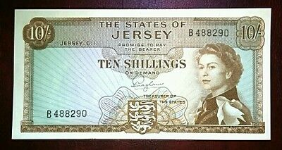 LOVELY STATES OF JERSEY 10 SHILLINGS BANKNOTE 1963 P7a GEM UNCIRCULATED