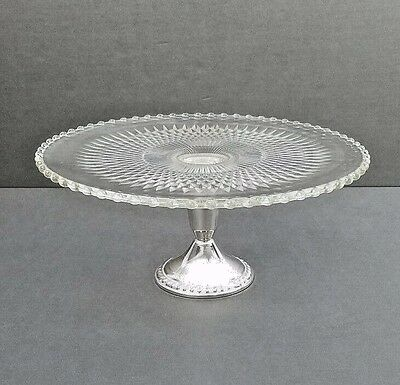 DUCHIN CANDLEWICK CAKE PLATE JEANNETTE IMPERIAL GLASS STERLING SILVER - Lovely!