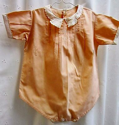 Vintage child's boy/girl orange romper size by Baby Craft handmade 1940's ?