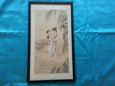 """Vintage Chinese Silk Painting Framed Under Glass 23""""x13"""""""
