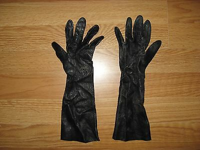 Vintage Distressed Black Wear Right Women's Long Leather Gloves Size 7