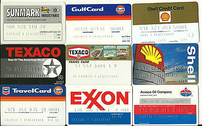 Lot of 9 GASOLINE Credit Cards for Collectors Expired Very good condition #1