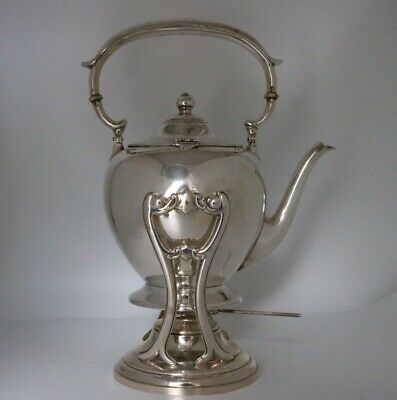 Dunkirk Silversmiths Sterling Silver Hot Water Kettle on Stand with Burner #500
