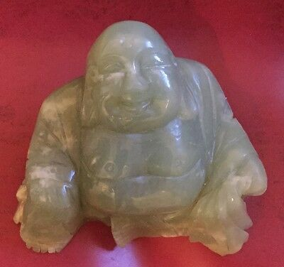 Light Green Jade Wealth Yuanbao Happy Laugh Maitreya Buddha Statue