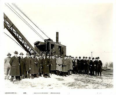 Real Photo Marion Osgood Steam Shovel Outside of Plant w Well Dressed Employees
