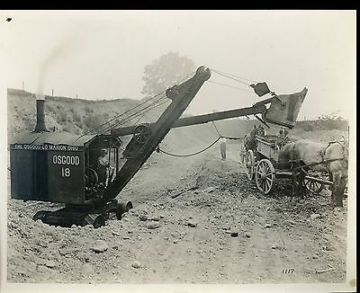 Real Photo Marion OSGOOD  Shovel 18 loading into Horse and Wagon