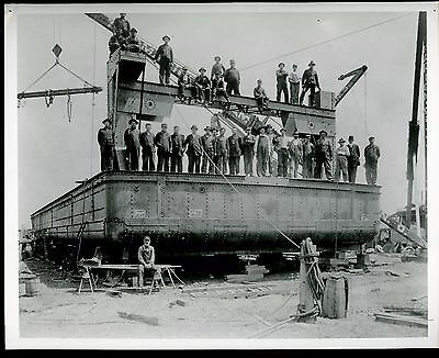 Real Photo of the Marion Steam Shovel Dipper Dredge with Men Posing